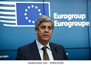 Portugal's Finance Minister Mario Centeno and president of the Eurogroup holds a news conference at the European Council headquarters in Brussels, Belgium on Dec. 4, 2017.