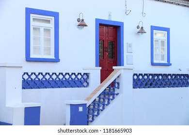 Portugese blue villa - residential architecture in Carvoeiro, Portugal.