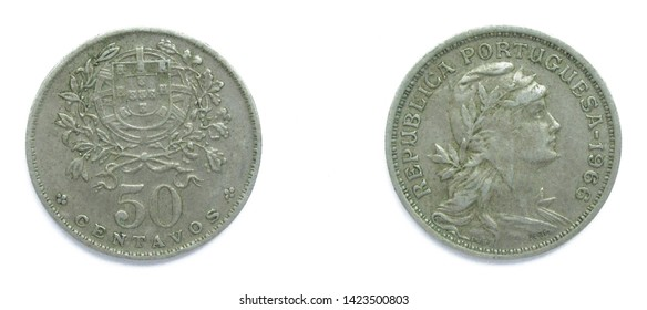 Portuguese 50 Centavos copper-nickel coin 1966 year. The coin shows a Coat of Arms of Portugal and woman's head with her hair down in phrygian cap, crowned with laurel, personifying a Republic.