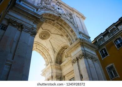 portuguese arquitecture arch, in Terreiro do Paço, in lisbon, portugal