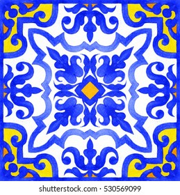 Portuguese azulejo tiles. Blue and white gorgeous seamless patterns.