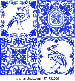 Portuguese azulejo tiles. Blue and white gorgeous seamless patterns with bird. For scrapbooking, wallpaper, smartphones, web background, print, surface texture, pillows, towels, linens, bags, T-shirts