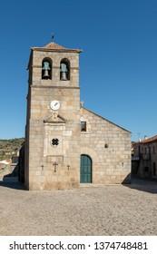 Portuguese Church and bell tower from the 17th century at Freixo do Numao. Council of Vila Nova de Foz Coa. Portugal. Douro Region.
