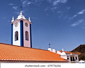 Portuguese church clock and bell tower