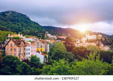 Portuguese city of Sintra, a UNESCO World Heritage Site. Sintra city near Lisbon with Sintra National Palace in the background. Sintra, Portugal.