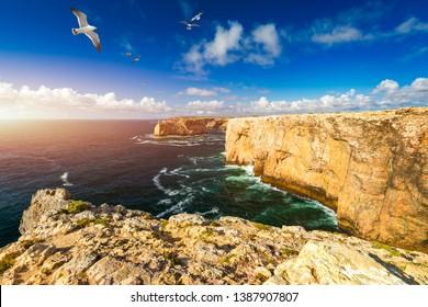 Portuguese coast, cliff into the Atlantic Ocean. Taken in Sagres, Faro, Algarve, Portugal. Beautiful coast of Portugal, Sagres. Seagulls flying over the coast of Algarve, Sagres, Portugal.