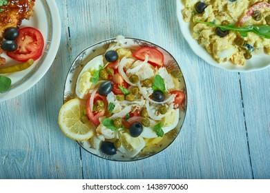 Portuguese Cod Fish Salad - Bacalhau com Grao close up