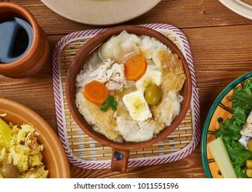 Portuguese cuisine - Acorda de Bacalhau,  Portugal dishes, Top view.