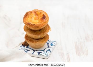 portuguese egg tart pastel de nata on white background
