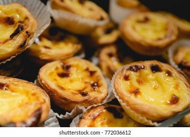 Portuguese egg tarts. Traditional Portuguese dessert called pastel de nata or pasteis de nata