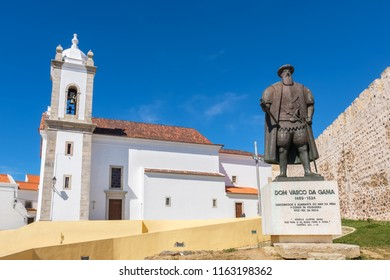 Portuguese explorer Vasco da Gama statue in front of the church in Sines. Alentejo, Portugal