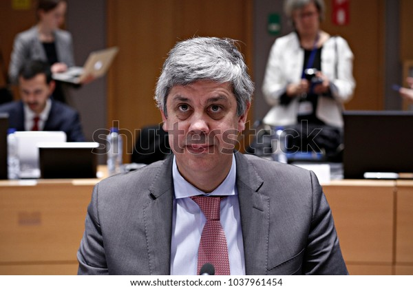 Portuguese Finance Minister and Eurogroup chief Mario Centeno in Eurogroup finance ministers meeting at the European Council in Brussels, Belgium on Feb. 19, 2018.