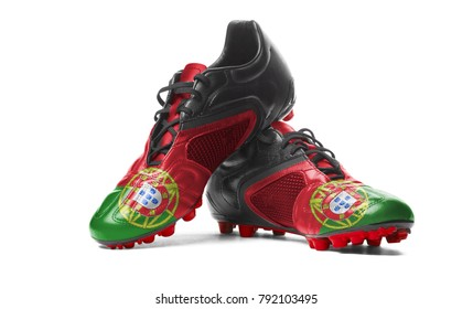 The Portuguese flag painted on football boots. Isolated on white background.