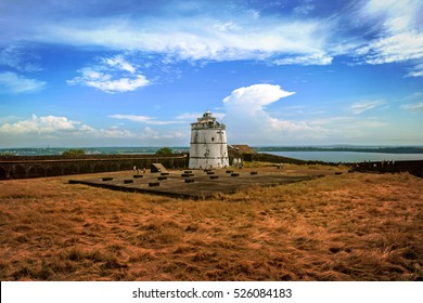 Portuguese fort Aguada. Goa, Candolim. India. Ancient fort and lighthouse built in the 17th century at Goa.