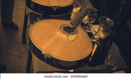 Portuguese guitar in Fado club