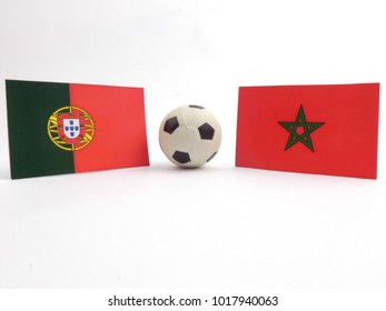 Portuguese and Moroccan flag with football ball isloated on white background