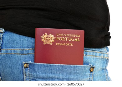 Portuguese passport carried in a rear pocket of jeans pants