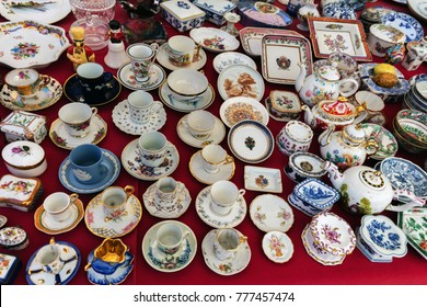 Portuguese porcelain souvenirs on a local flea market in Lisbon