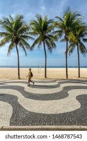 Portuguese stone boardwalk from Leme Beach, Rio de Janeiro, Brazi