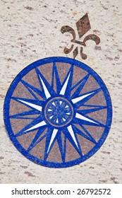 Portuguese style wind rose - mosaic on granite floor