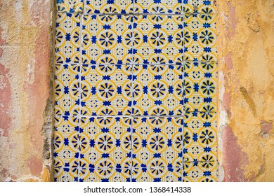 Portuguese tiles (azulejos) on the external wall of a colonial house in the historic center of Recife, Brazil