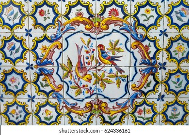 Portuguese tiles pattern with blue, yellow and purple ornaments - azulejos, mexican talavera, italian majolica or spanish motifs. Flooring and wall siding print for ceramic porcelain wall.