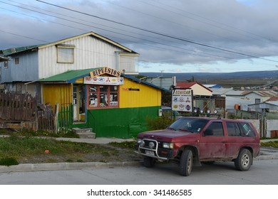 PORVENIR, CHILE - NOVEMBER 11,2014: Porvenir is a village in Chile on the island of Tierra del Fuego. The administrative centre of the municipality and the province of Tierra del Fuego .