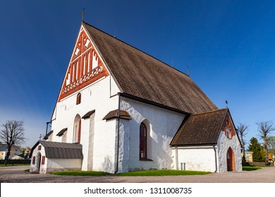 Porvoo cathedral facade. It is a cathedral of the Evangelical Lutheran Church of Finland in Porvoo, Finland. It was built in the 15th century