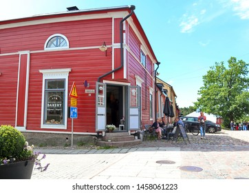 Porvoo, Finland -07-13-2019: Little Cafe and Bakery on the corner of Church Street in Porvoo Old Town
