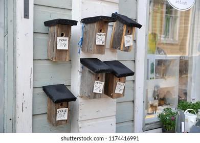Porvoo, Finland - August 18, 2018: crafts - handmade birdhouse in Porvoo, Finland