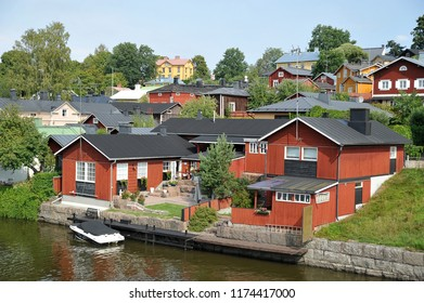 Porvoo, Finland - August 18, 2018: a house by the water in Porvoo, Finland