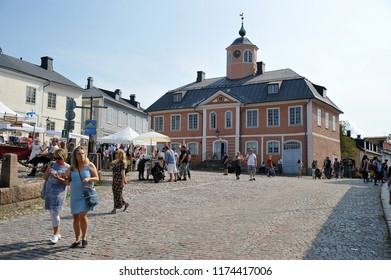 Porvoo, Finland - August 18, 2018: Central shopping area in Porvoo, Finland