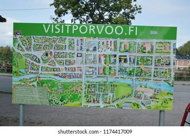 Porvoo, Finland - August 18, 2018: tourist map of Porvoo, Finland