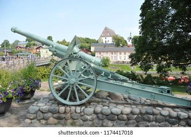 Porvoo, Finland - August 18, 2018: cannon monument in Porvoo, Finland