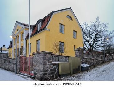 PORVOO, FINLAND - Dec 16, 2018: Bishop's house on Cathedral Square in Porvoo.