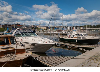 Porvoo, Finland - July 14, 2019 - Embankment of the city of Porvoo. View of the yachts on the embankment of the Porvoonjoki River. Modern view of the city.