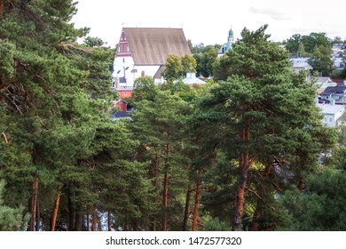 Porvoo, Finland - July 14, 2019 - Embankment of the city of Porvoo. View of the Cathedral of the Blessed Virgin Mary