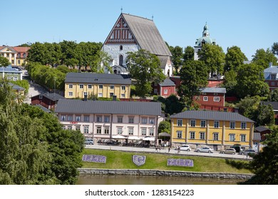 PORVOO, FINLAND - JULY 16, 2017: View to the river Porvoonjoki and Porvoo cathedral. It was built in the 15th century, although the oldest parts date from the 13th century