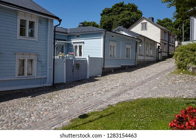 PORVOO, FINLAND - JULY 16, 2017: Street of old town of Porvoo. Porvoo, Borga in Swedish, is one of the six medieval towns in Finland, first mentioned as a city in texts from the 14th century