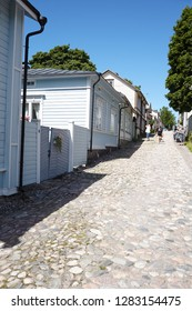 PORVOO, FINLAND - JULY 16, 2017: People on the street of old town. Porvoo, Borga in Swedish, is one of the six medieval towns in Finland, first mentioned as a city in texts from the 14th century