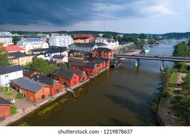 PORVOO, FINLAND - JULY 20, 2018: The city of Porvoo before a thunderstorm on a July day (aerial survey)