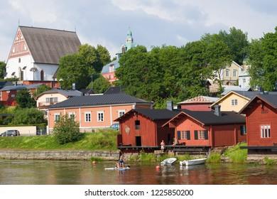 PORVOO, FINLAND - JULY 20, 2018: Sunny July day in old Porvoo