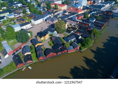 PORVOO, FINLAND - JULY 23, 2018: A view from the height of the historic center of Old Porvoo on a July afternoon (shooting from a quadrocopter)