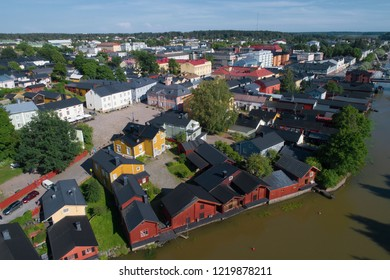 PORVOO, FINLAND - JULY 23, 2018: View of the historic center of old Porvoo on a sunny July day (aerial photography)
