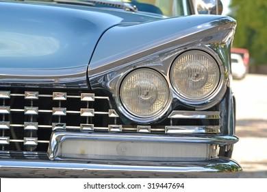 Porvoo, Finland - July 25, 2015: Buick Electra, 1959, headlight