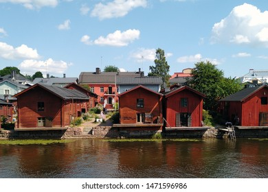 Porvoo, Finland - July 28, 2019: River Porvoo and old historic wooden houses.