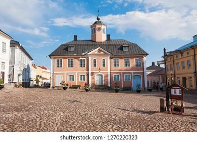 PORVOO, FINLAND - JULY 29, 2014: Beatiful old town Porvoo (Borga),  Town Hall square