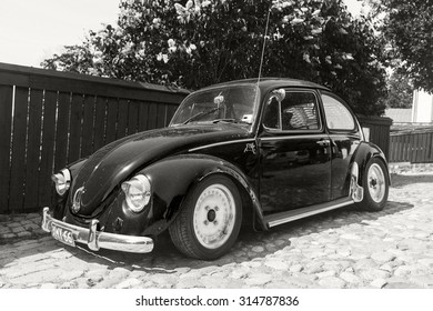 Porvoo, Finland - June 12, 2015: The very last Volkswagen Beetle modification is parked on the street of Porvoo