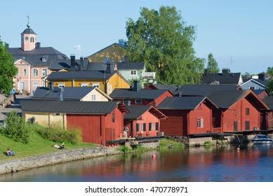 PORVOO, FINLAND - JUNE 13, 2015: On a sunny June day in the old town of Porvoo