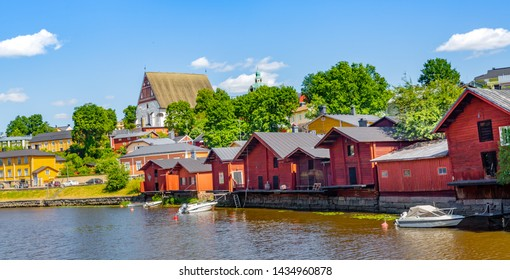 Porvoo, Finland- June 23,2019: Old town of Provoo finland. Wooden colorful  houses in Porvoo city. Finland